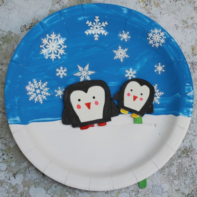 movable penguin paper plate craft square