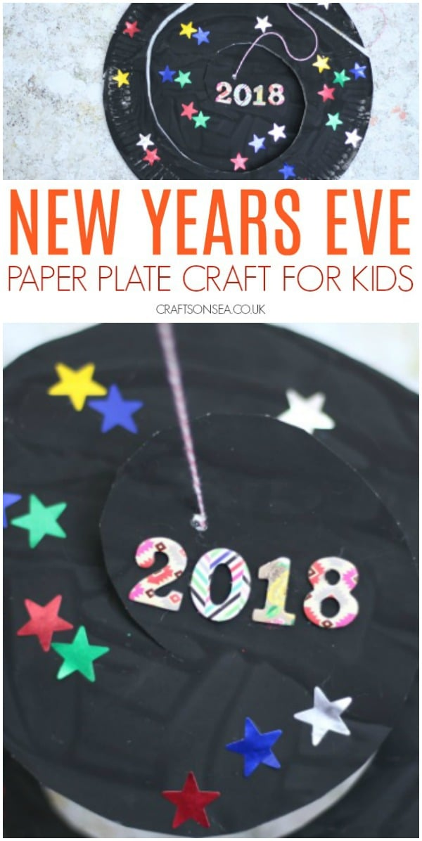 new years eve crafts for kids paper plate twirler #nye #kidscrafts