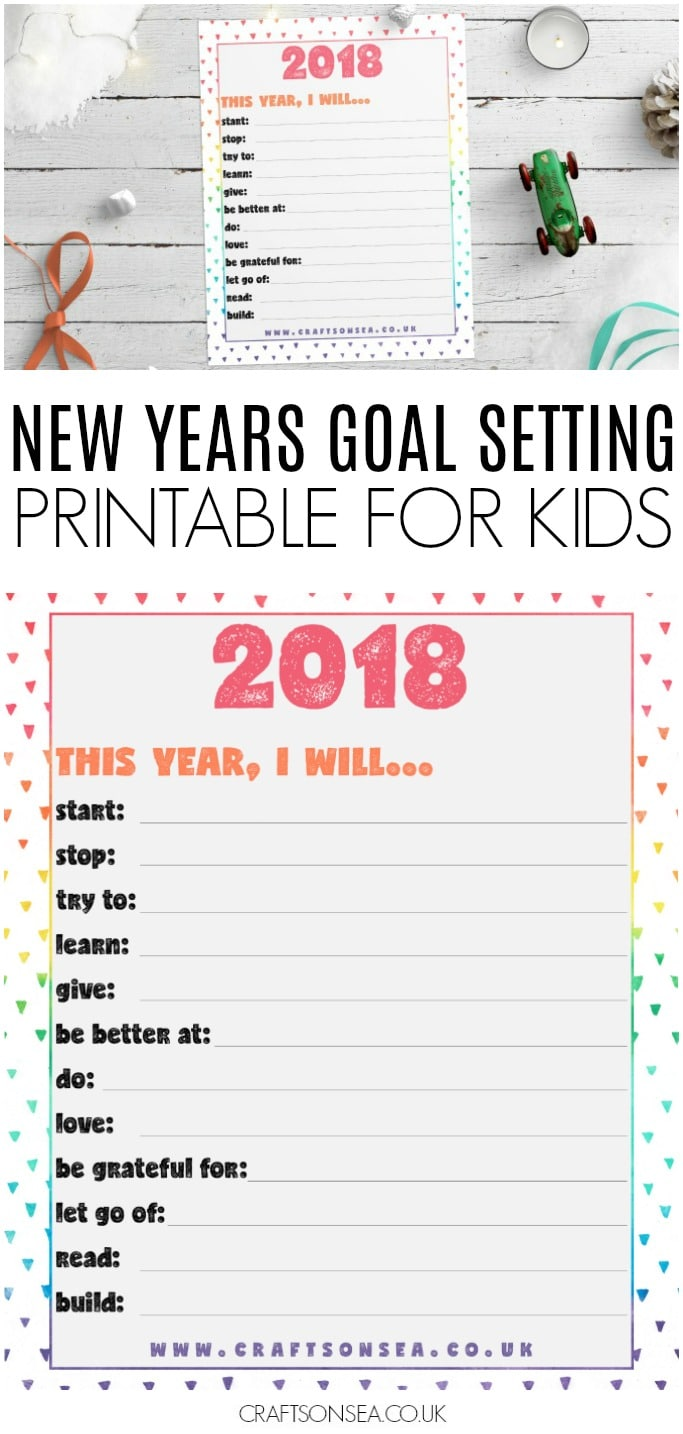 new years eve goal setting printable for kids 2018