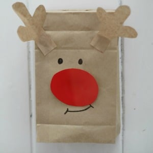 paper bag reindeer puppet craft 300