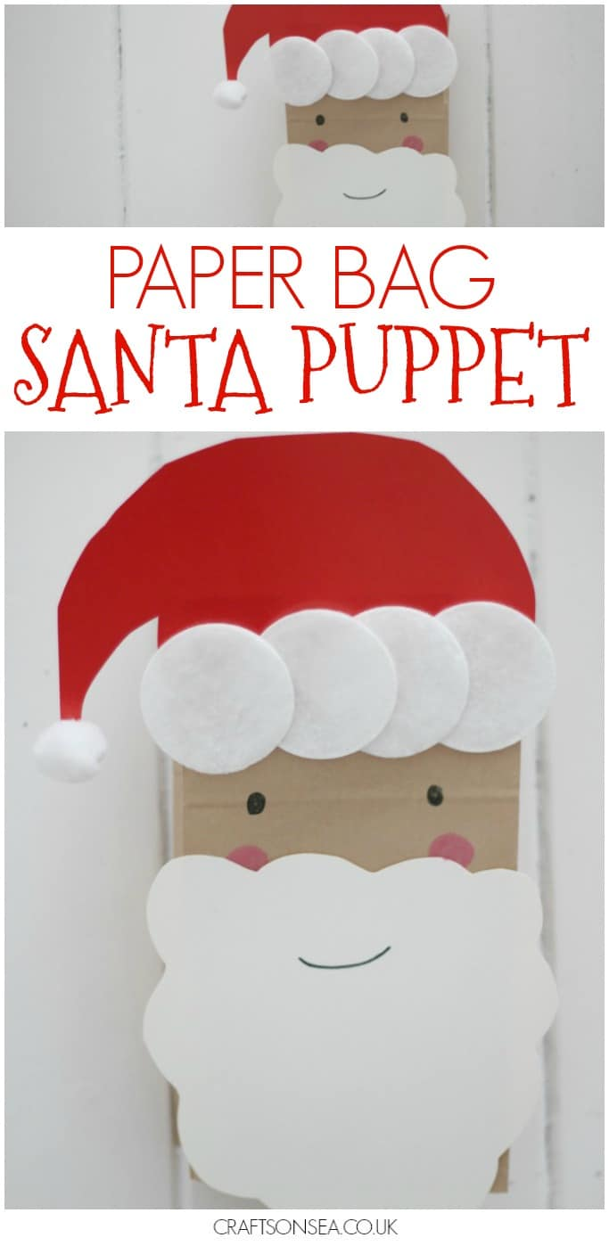 paper bag santa puppet for kids easy Christmas craft