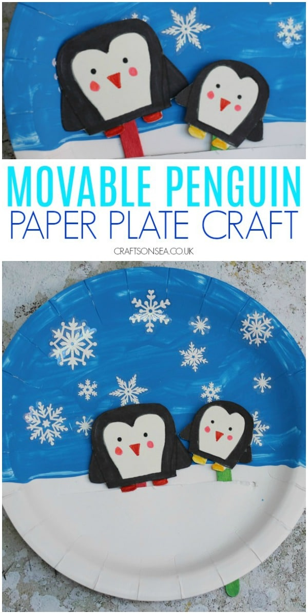 penguin paper plate craft for winter #wintercrafts #kidscrafts