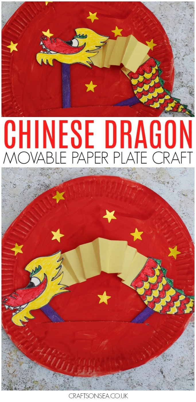 Chinese New Year craft for kids movable paper plate dragon