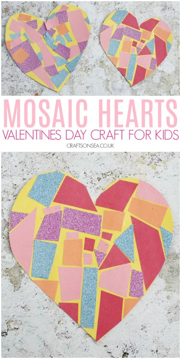 Easy Valentines Day craft for kids mosaic hearts preschool scissor skills #preschool #kidscrafts