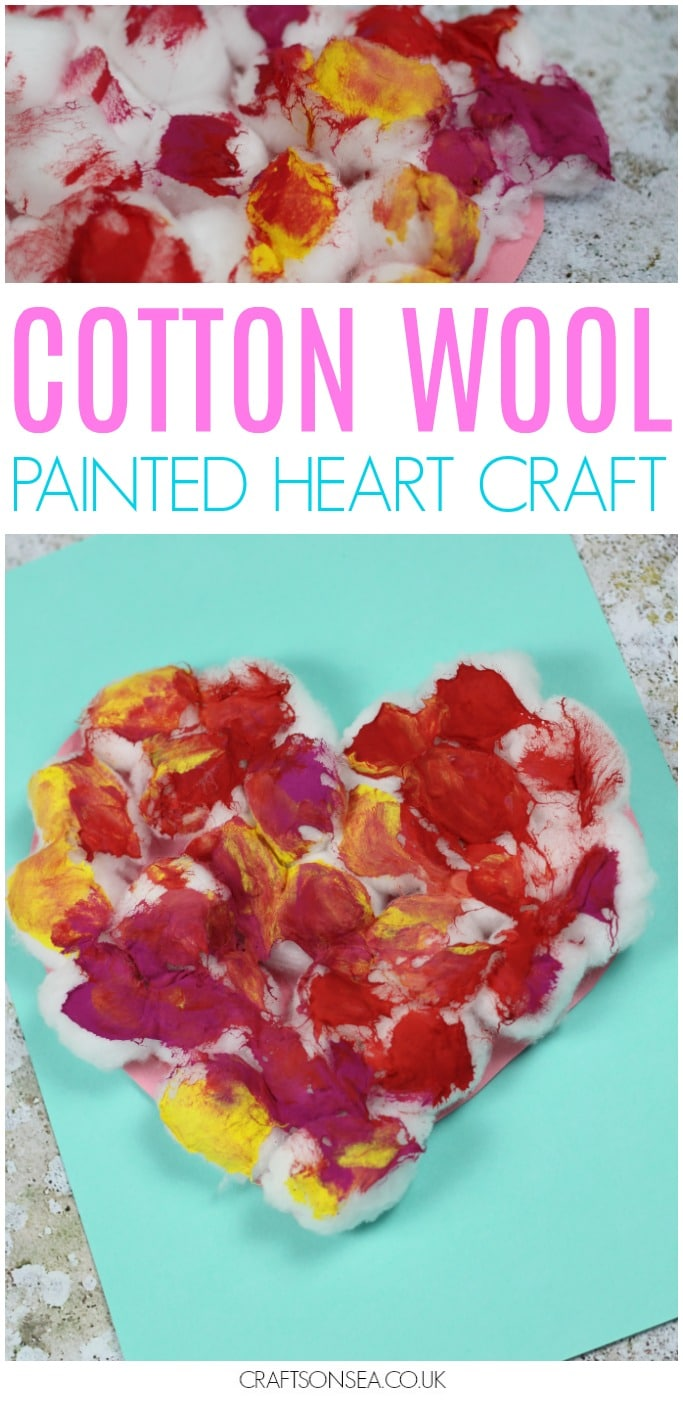 cotton wool painted heart valentines craft