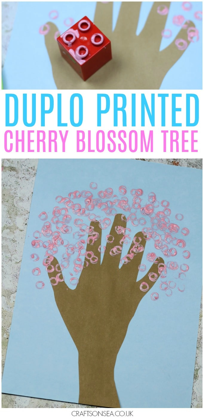duplo printed cherry blossom tree spring handprint craft for kids