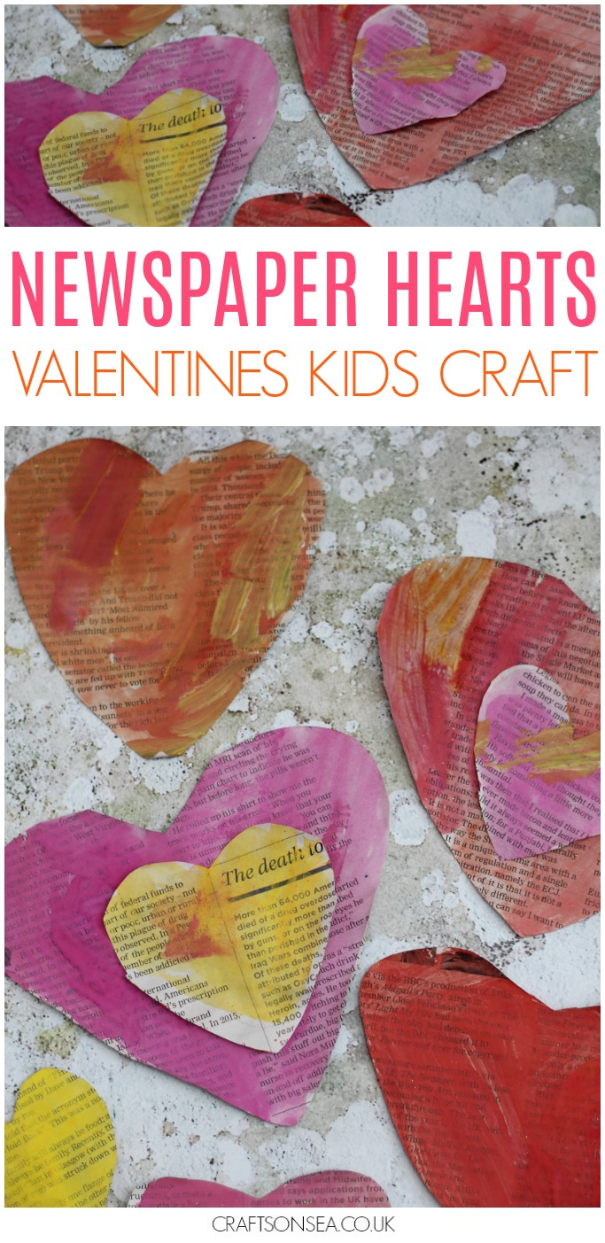 easy valentines day craft for kids preschool toddlers newspaper hearts