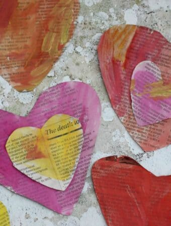 heart craft for kids using newspaper