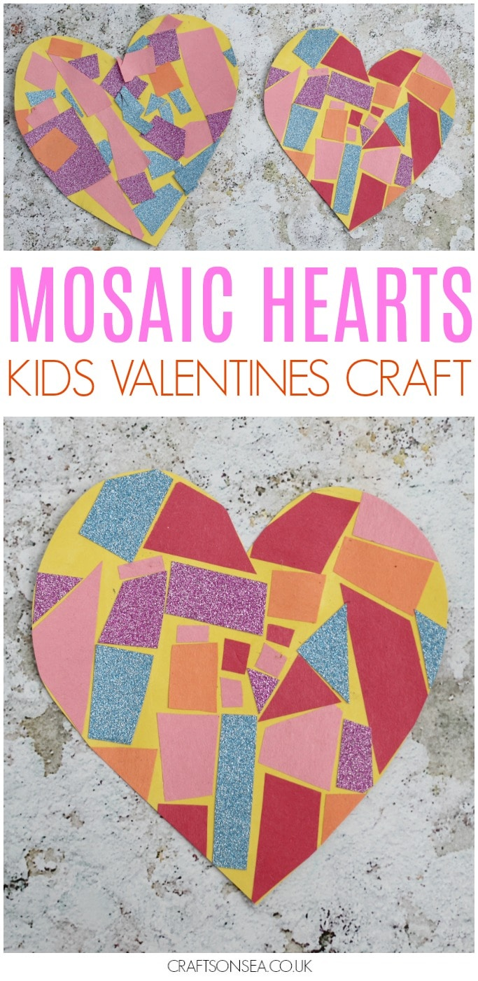 mosaic heart craft for valentines day toddler preschool easy scissor skills