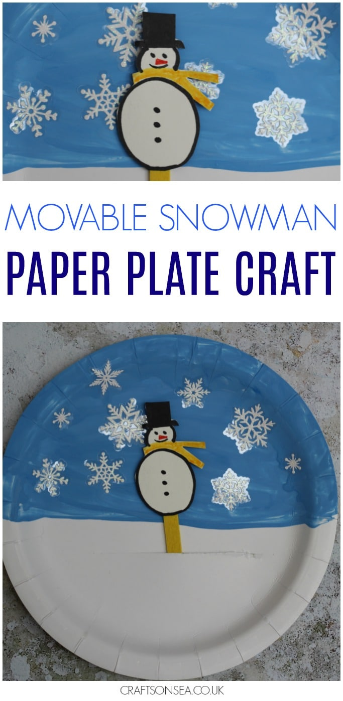 movable snowman paper plate craft for kids