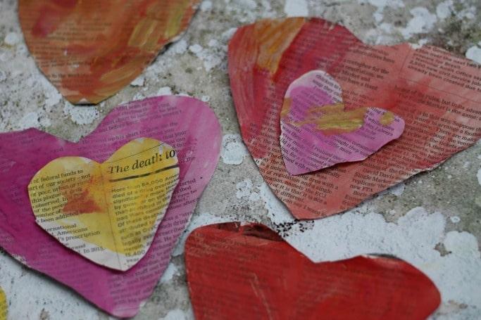 newspaper heart craft for kids