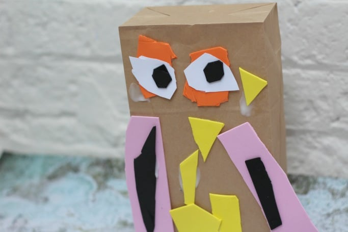 owl puppet made by preschooler