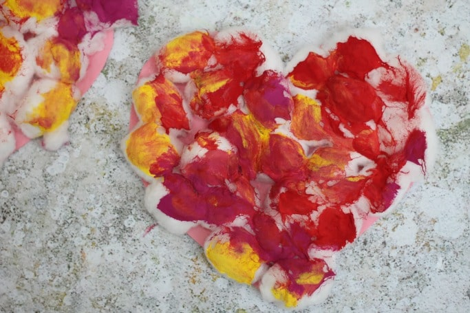 painted cotton wool heart craft for preschool