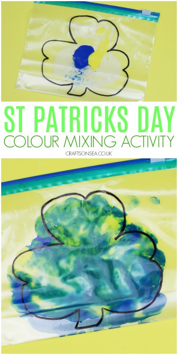 St Patricks Day crafts for kids toddlers colour mixing activity #stpatricksday #kidsactivities