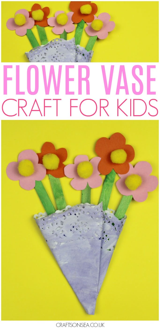 doily vase flower craft for kids mothers day