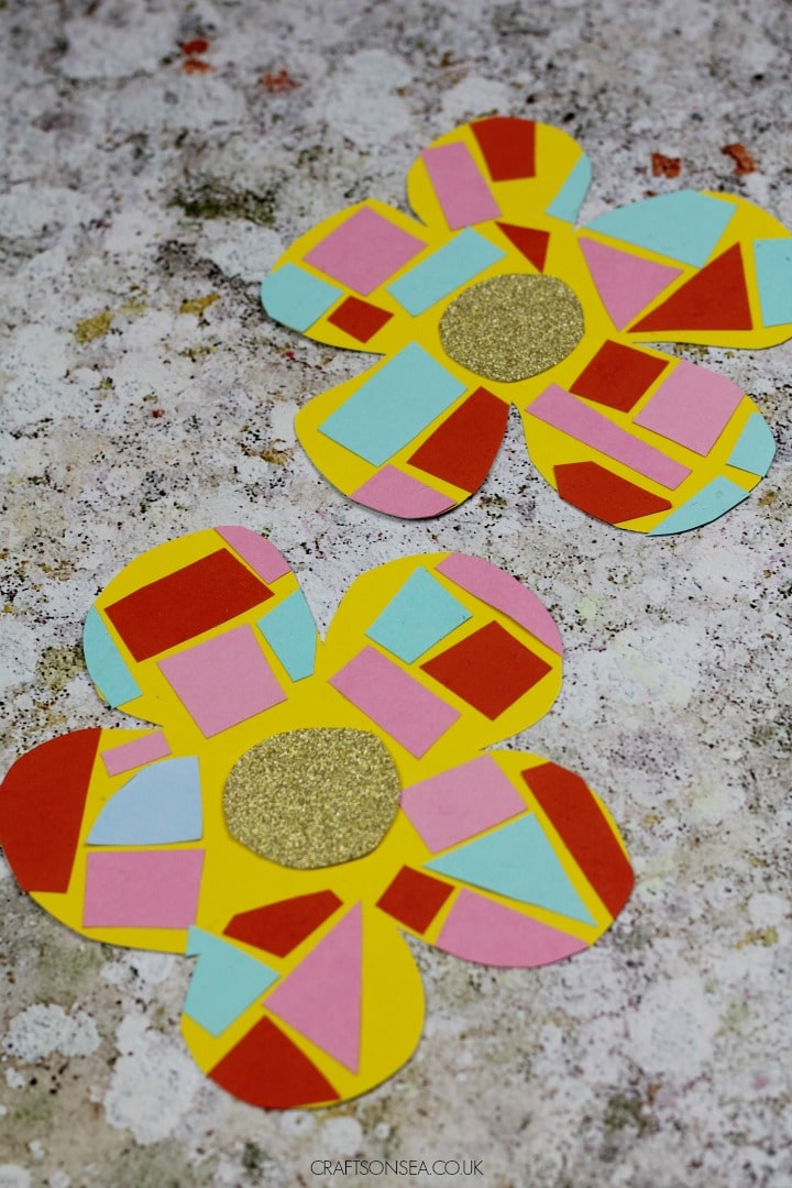 easy flower craft paper mosaic