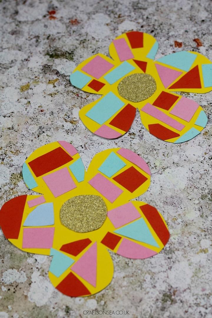 easy flower craft paper mosaic