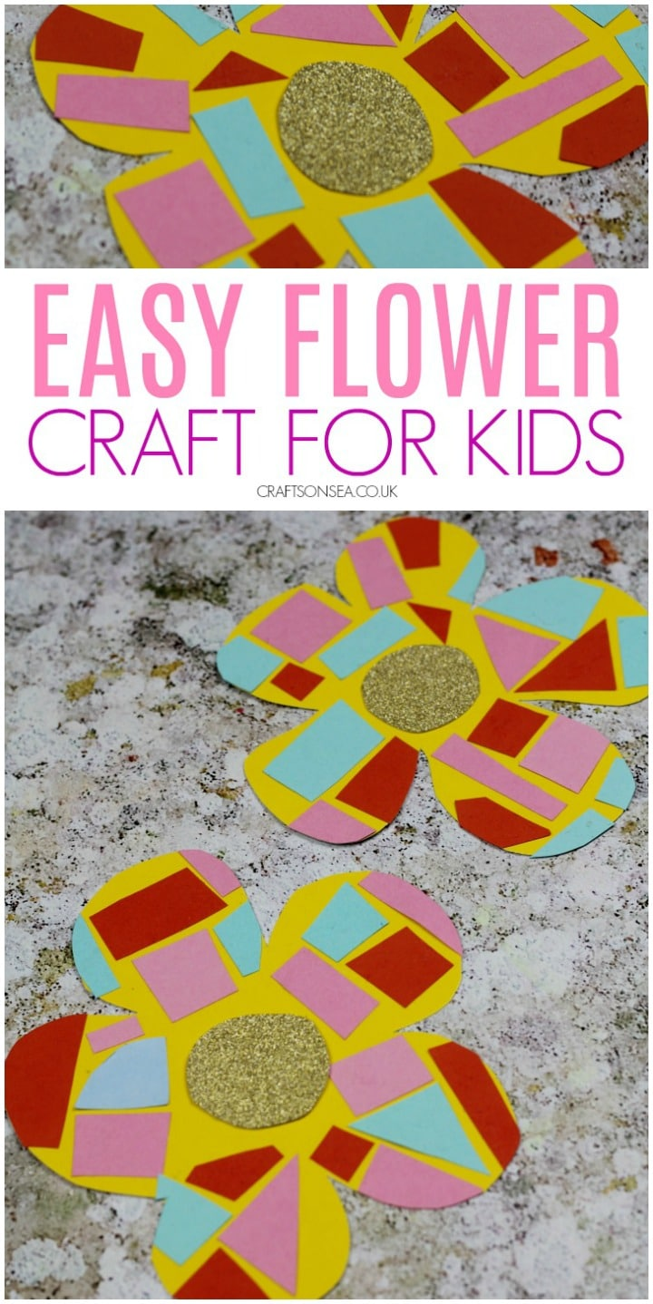 easy flower crafts for preschoolers paper mosaic