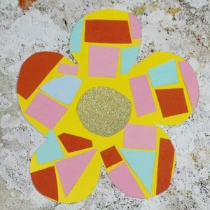 easy mosaic flower craft for kids 300
