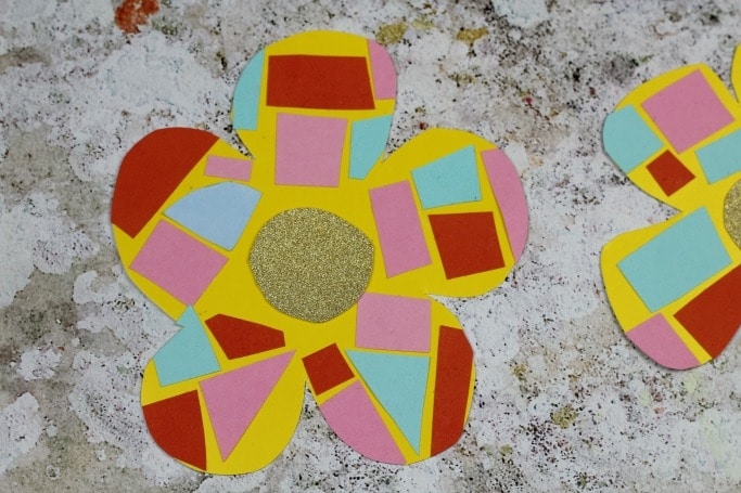 easy mosaic flower craft for kids