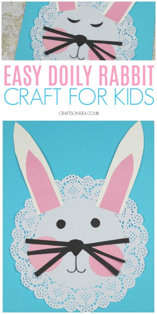 easy rabbit craft for kids spring easter preschool #kidscrafts #eastercrafts