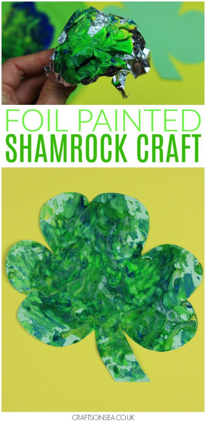 foil painted shamrock craft for kids st patricks day