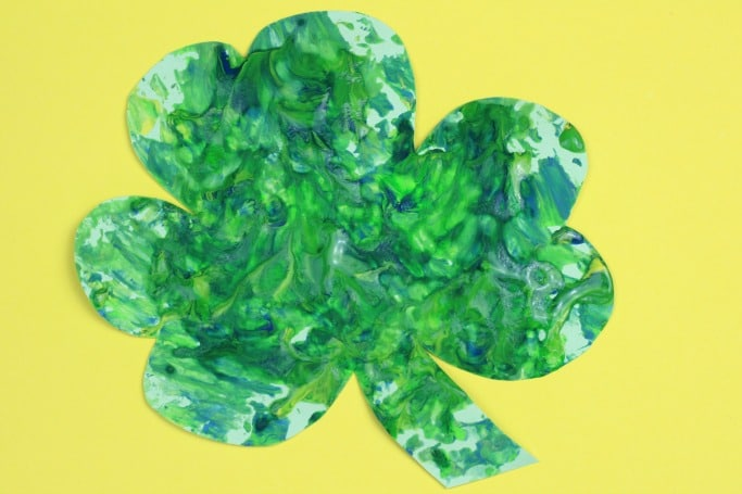 foil painted shamrock craft for kids