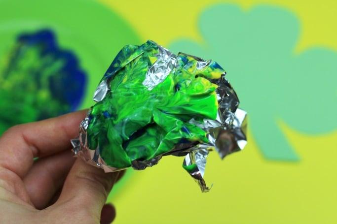 foil painted shamrock craft preschool