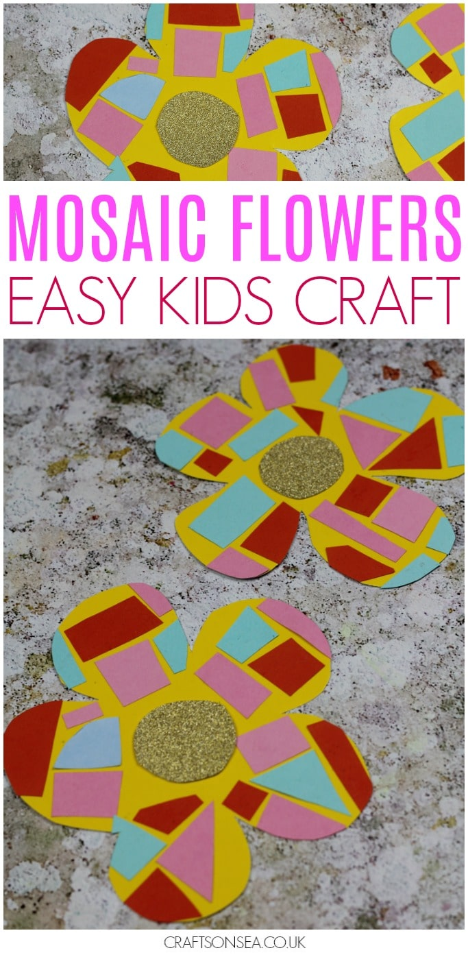 mosaic flower craft for kids preschool easy spring