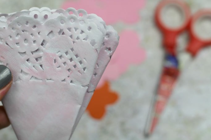painted doily flower craft