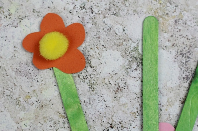 popsicle stick flower craft for kids