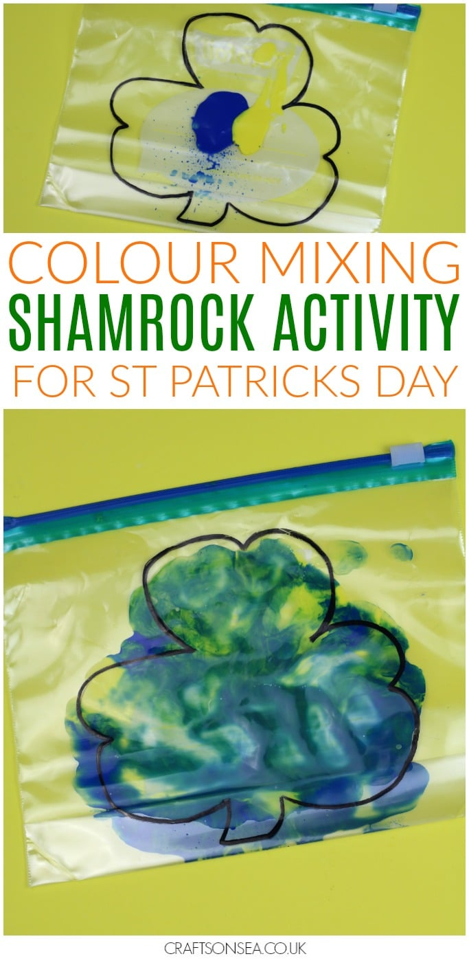 st patricks day shamrock activity for kids colour mixing