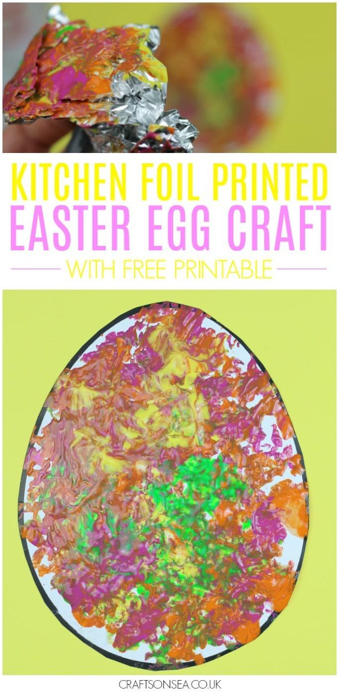 easter egg craft activity printed with foil