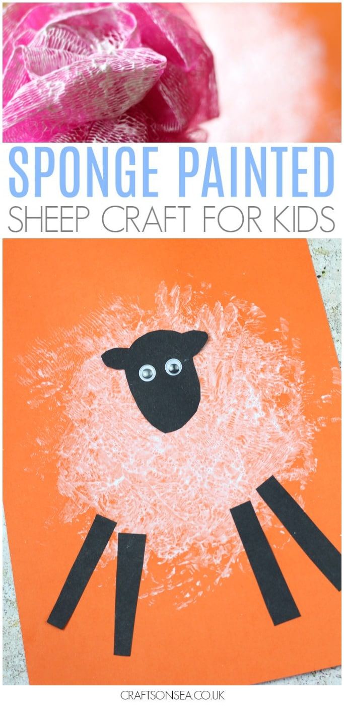 easy sheep craft for kids preschool sponge painting