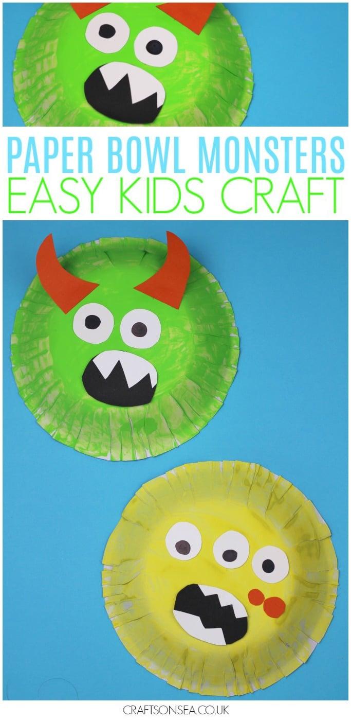 paper bowl monster craft for kids easy