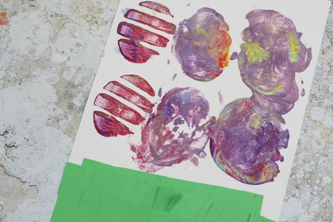 potato print eggs made by preschooler
