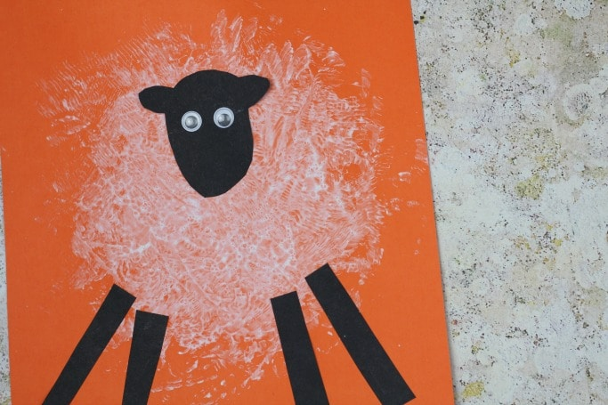 sponge printed sheep craft