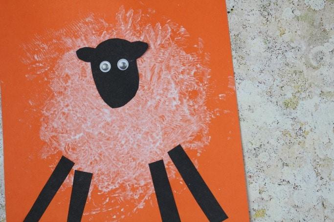 sponge printed sheep craft