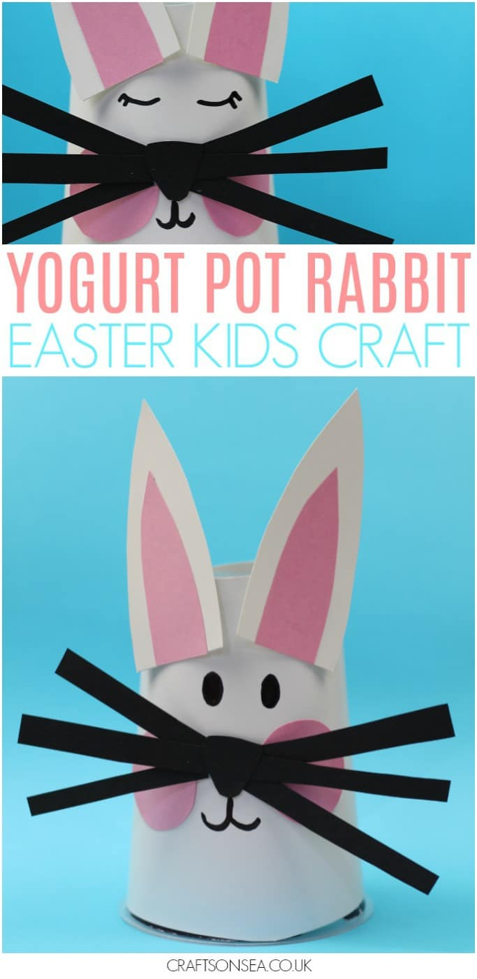 yogurt pot rabbit easy easter craft for kids