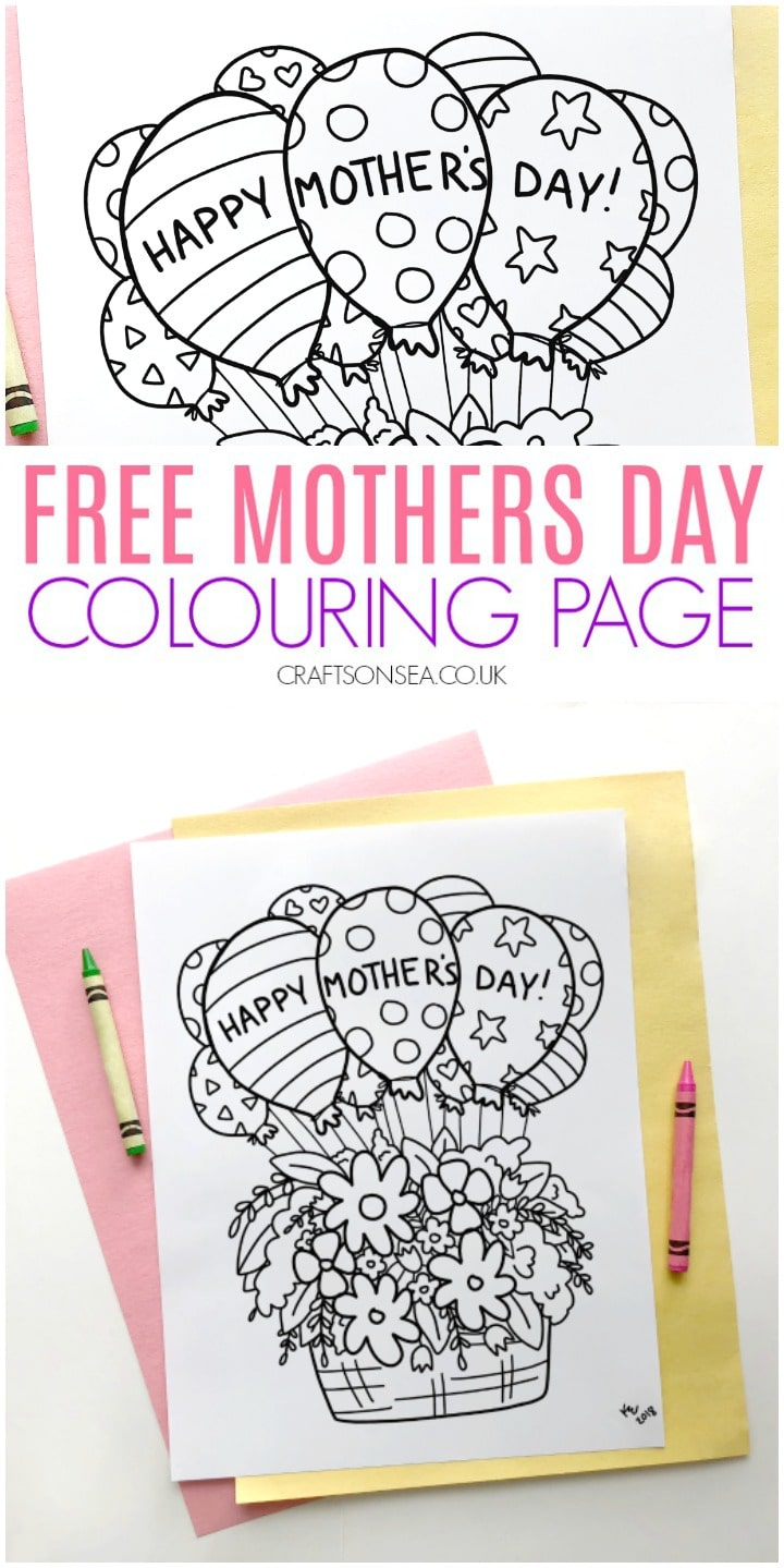 Mothers day colouring page for kids easy craft or art idea