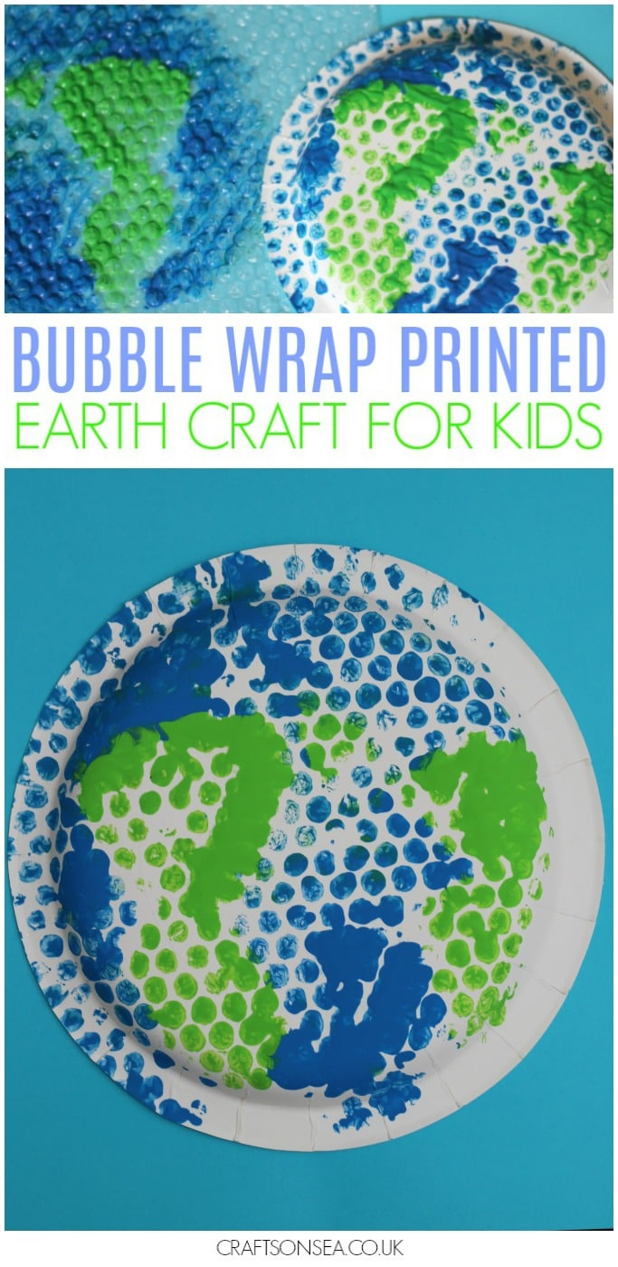 earth day craft for kids easy paper plate bubble wrap