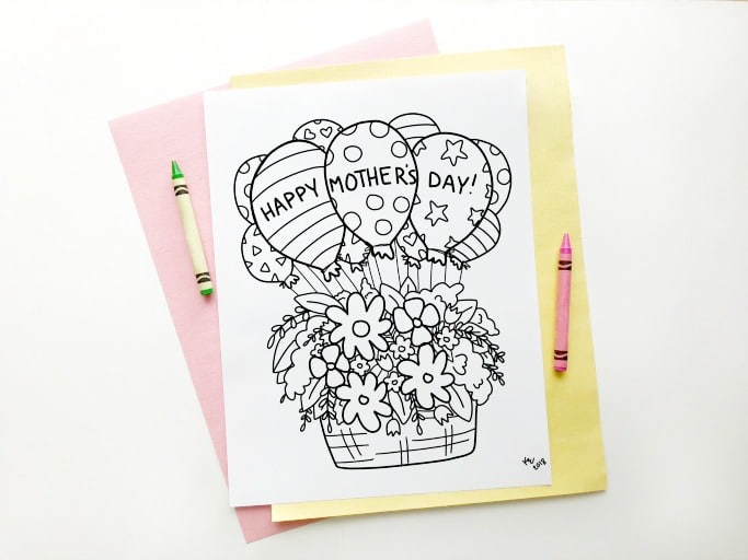 mothers day colouring page kids