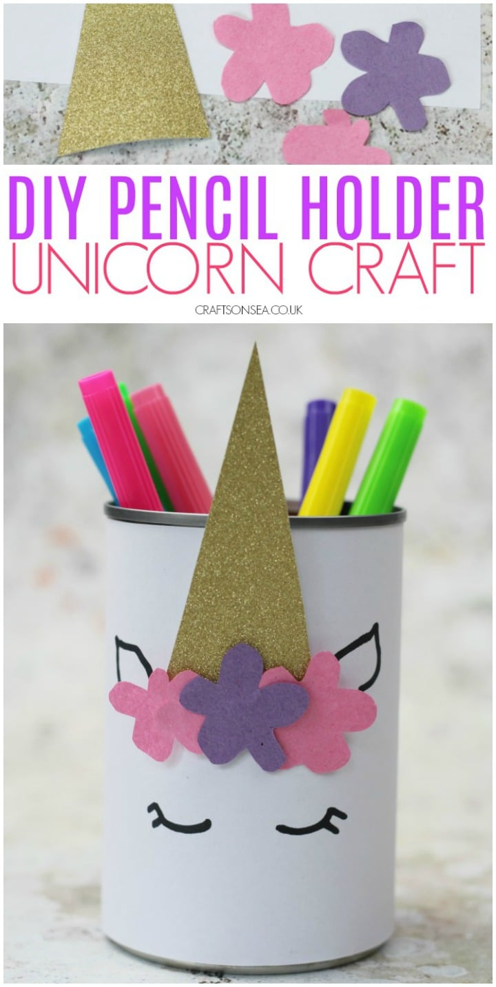 unicorn craft for kids pencil pot
