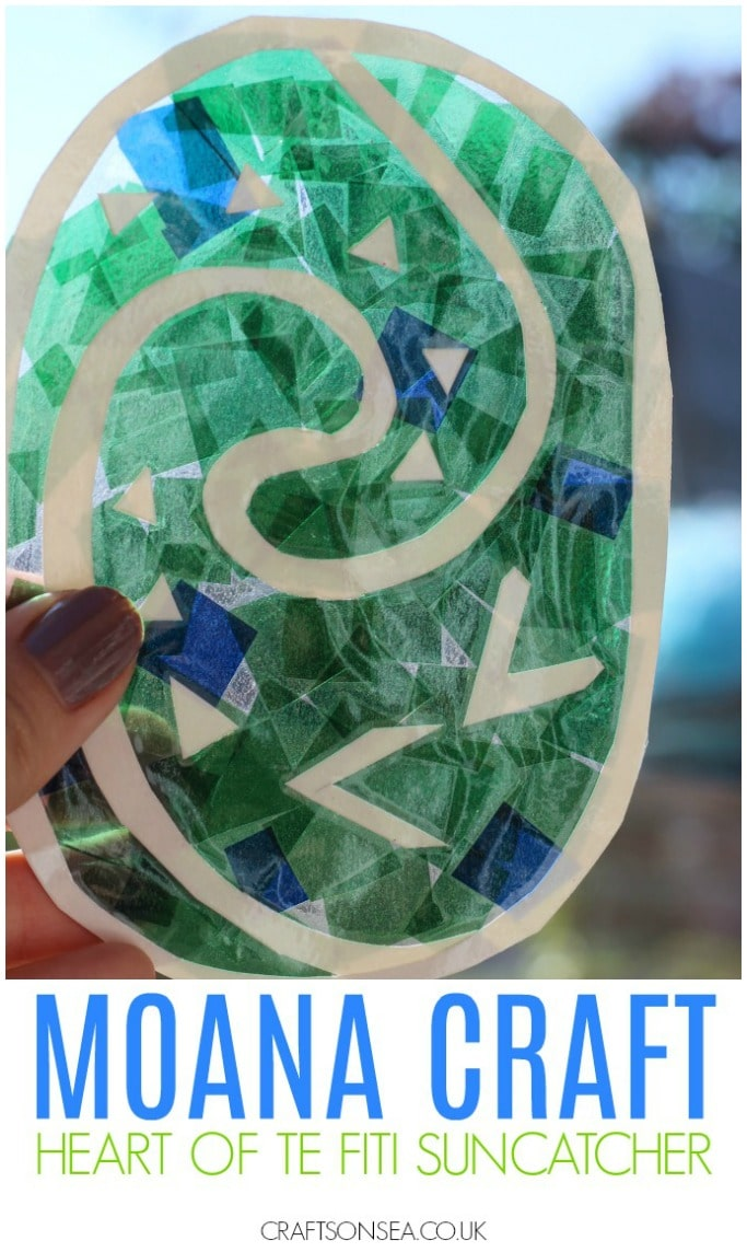 Moana crafts for kids heart of te fiti suncatcher