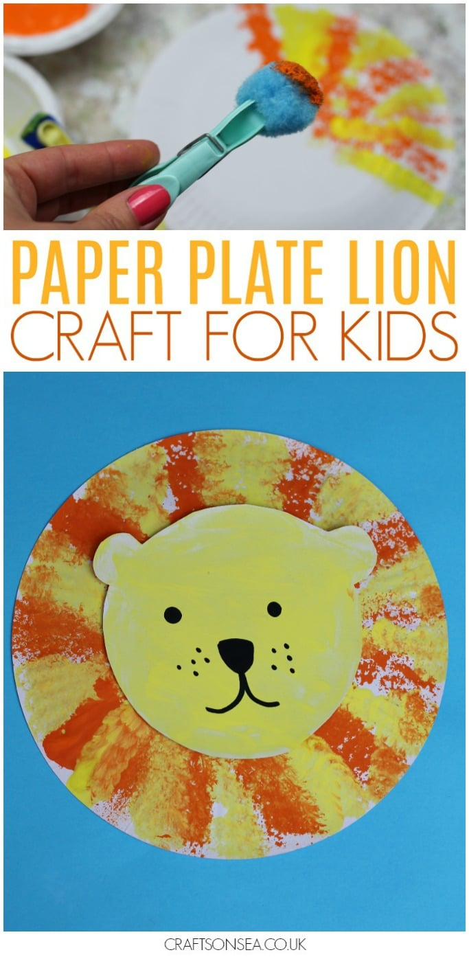 lion craft preschool paper plate