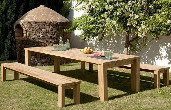 outdoor dining wooden table benches