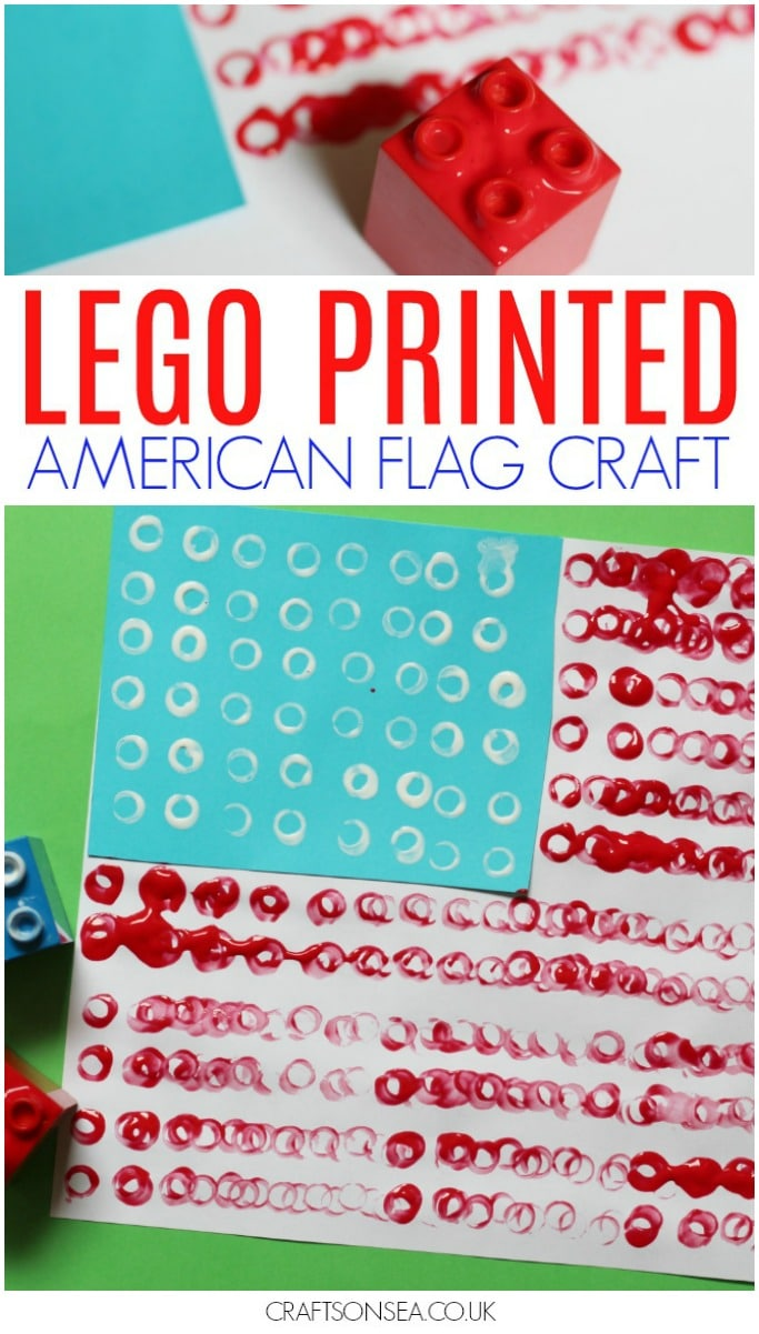 Patriotic crafts for kids lego printed flag for easy 4th July celebrations