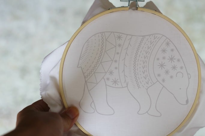 bear embroidery kit for beginners