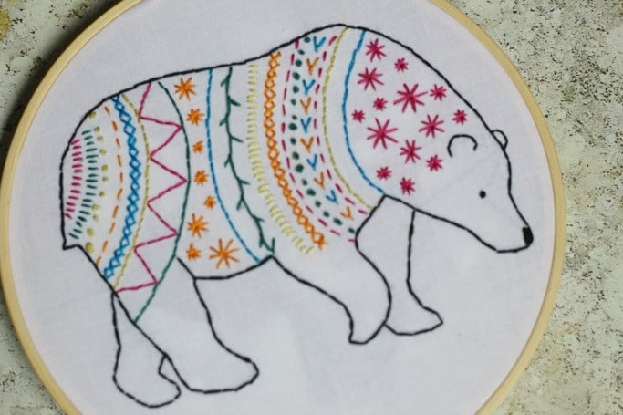 easy bear embroidery kit