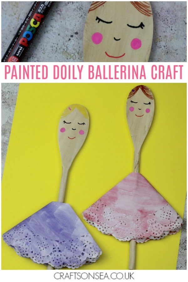 doily wooden spoon ballerina craft for kids